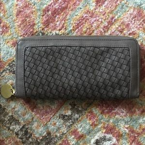 Deux lux leather cross hatched wallet